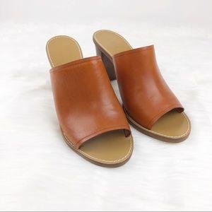 J. Crew   Marlow Cognac Slip On Mule Heels